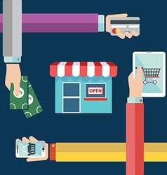 Shopping concept of hands online and cash purchase vector image