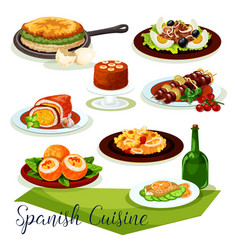 spanish cuisine icon design with meat and seafood vector image