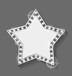 star shaped banner with copy space frame silver vector image
