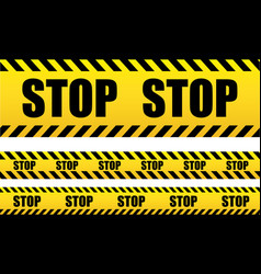 stop seamless tape danger yellow police line vector image