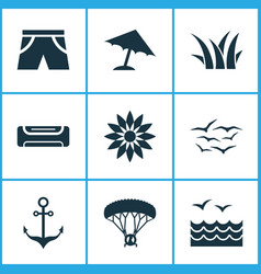 Sun icons set with sea umbrella anchor and other vector