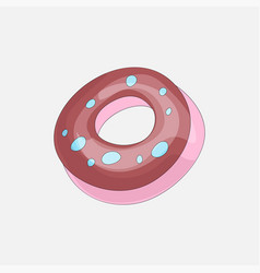 sweet pink donut cartoon icon with chocolate icon vector image