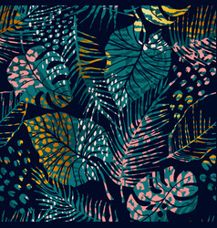 trendy seamless exotic pattern with tropical vector image
