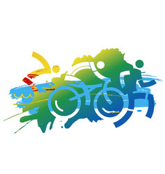 Triathlon competition expressive stylized vector