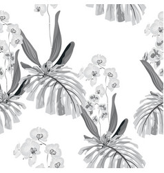 tropical monochrome seamless pattern vector image