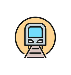 tunnel with train sign metro subway railway vector image