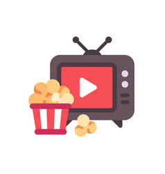 tv with play button and popcorn bucket flat icon vector image