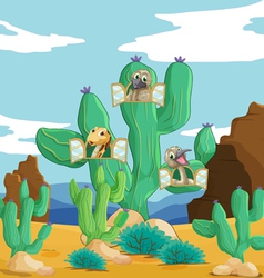 various animals and cactus vector image