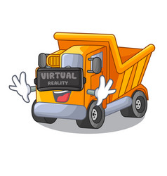 virtual reality truck on highway road with mascot vector image