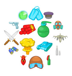 war icons set cartoon style vector image
