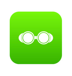 Welding glasses icon digital green vector
