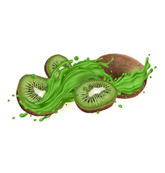 whole and sliced kiwi in green juice splash vector image