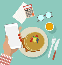 Woman business breakfast with phone vector