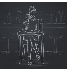 Woman sitting at bar vector image
