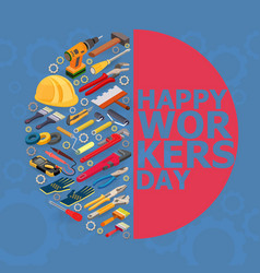 workers day isometric vector image