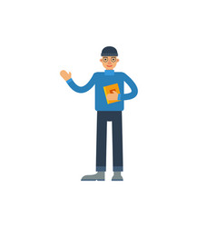 Young man with book waving hand vector