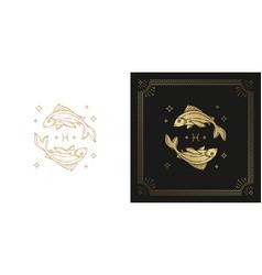 Zodiac pisces horoscope sign line art silhouette vector