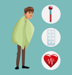 blue color background with sickness man full body vector image
