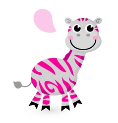 Cute pink zebra isolated on white vector image vector image