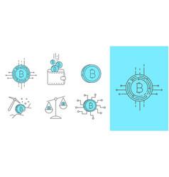 digital money bitcoin concept icon set vector image