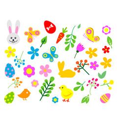 easter eggs floral decor elements painted vector image vector image