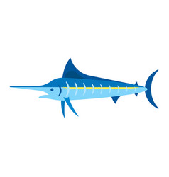 flat style of marlin vector image