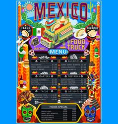 food truck menu street food mexican festival vector image vector image