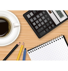 notepad and coffee vector image