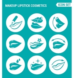 set of round icons white Makeup lipstick vector image