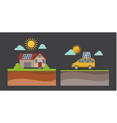 Sun energy house vector