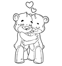 Two cute teddy bears in love outlined on a white vector image vector image