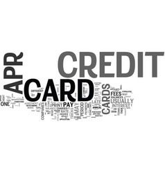 apr credit cards ok what s the catch text word vector image vector image