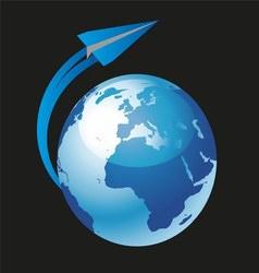 Paper Plane Flying Around World Globe vector image