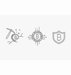 set of line stroke bitcoin icons vector image