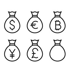 bags with money thin line icon vector image