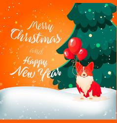 funny dog with ballons merry christmas vector image