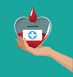 hand holding heart donate blood vector image vector image