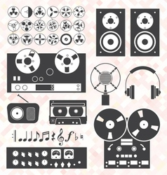 Retro Music Recording Equipment Object vector image vector image