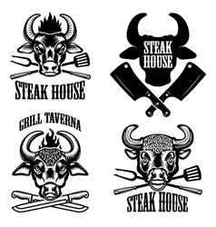 set of steak house emblems fresh beef bull heads vector image vector image