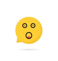 shocked emoji speech bubble logo isolated on white vector image