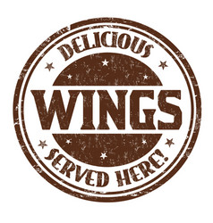 delicious wings sign or stamp vector image vector image