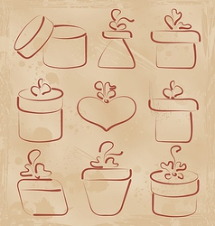 Hand drawn set gift boxes for your anniversary vector image vector image