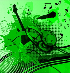 headphones with grunge background vector image vector image