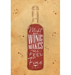 Poster meat and wine chalk vector image vector image