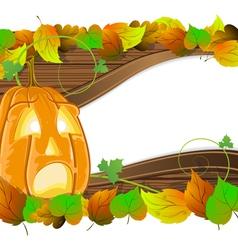 Pumpkin head on wooden background vector image vector image