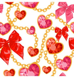 Ruby heart pendants hanging with golden chains vector image