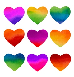 Set of watercolor rainbow hearts design vector image vector image