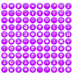 100 space icons set purple vector