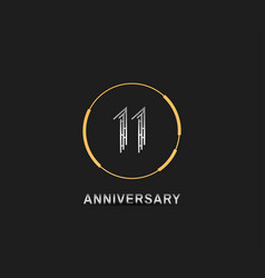 11 anniversary logotype with silver number vector