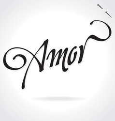 AMOR original custom hand lettering vector image vector image